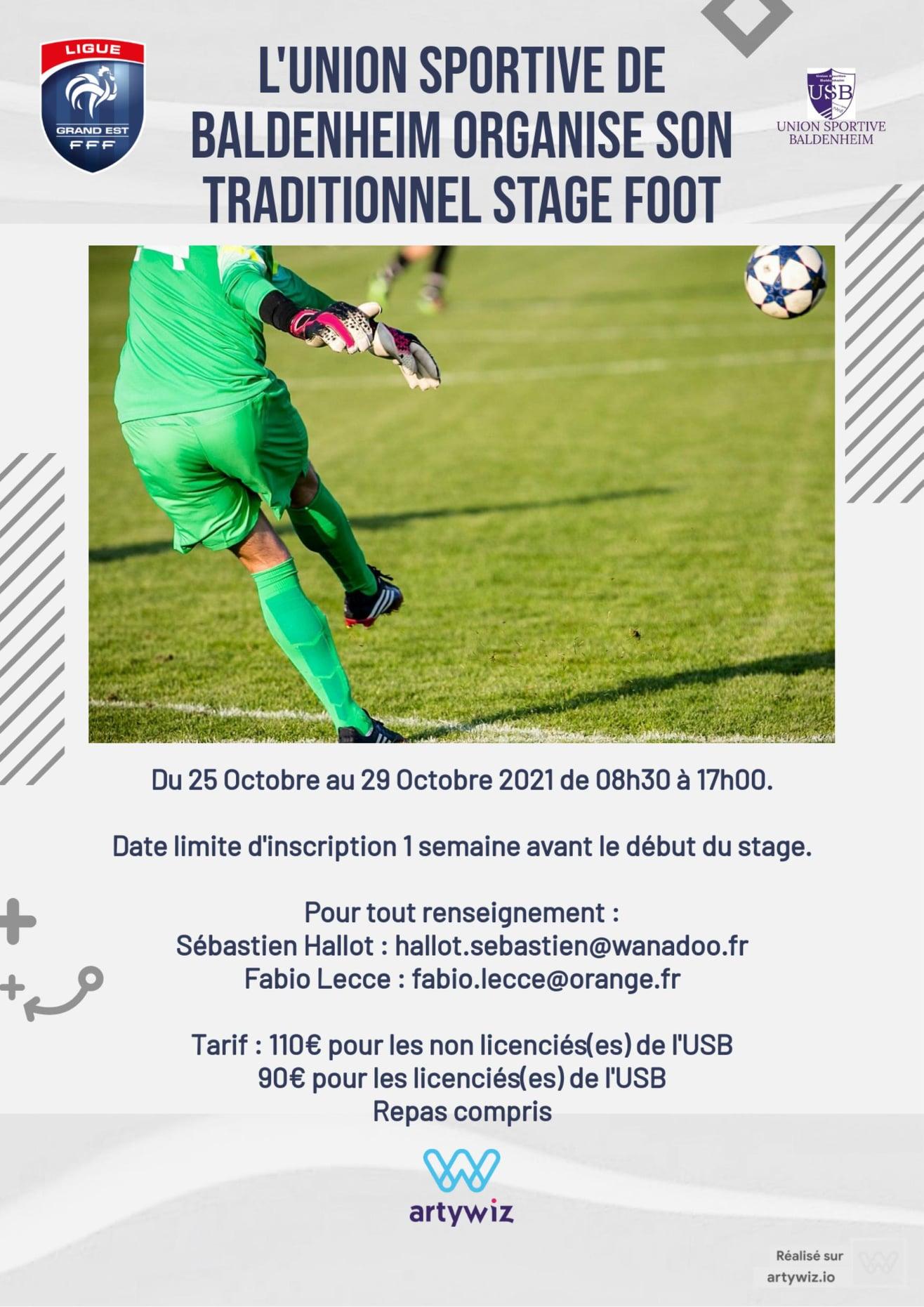 Read more about the article L'Union Sportive de Baldenheim organise son stage foot du 25 au 29 octobre 2021